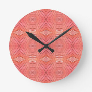 Pretty Chic Soft Peach Pastel Pattern Round Clock