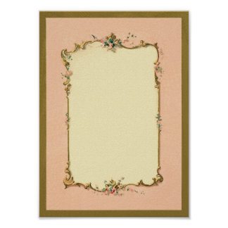 Pretty Chic Vintage French Blank Page Border Poster