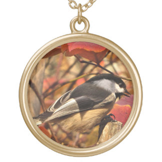 Pretty Chickadee Bird in Pink Autumn Leaves Gold Plated Necklace