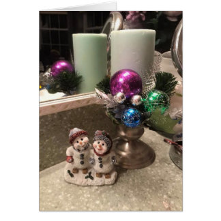 Pretty Christmas Candle and Snowman Display Card