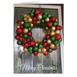 Pretty Christmas Door with Ornamental Wreath Card