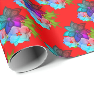 Pretty Christmas Succulent Floral Wrapping Paper
