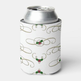 Pretty Christmas Swirls & Holly Can Cooler