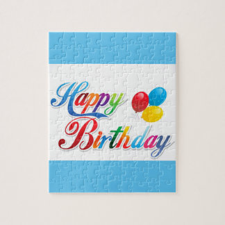 pretty colored happy birthday puzzle
