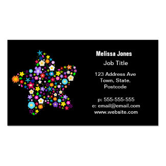 Pretty Colorful Floral Star Business Card Templates