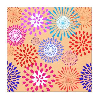 Pretty Colorful Flower Petal Art Peach Pattern Stretched Canvas Prints