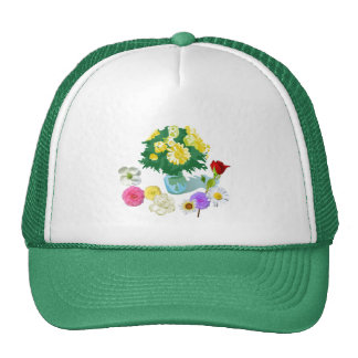 pretty colorful pink, yellow, purple, red flowers mesh hat