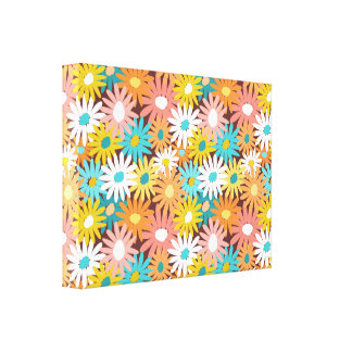 Pretty colorful spring daisies canvas print