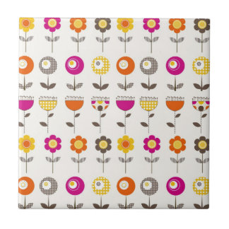 Pretty Colorful Spring Flowers Whimsical Pattern Small Square Tile