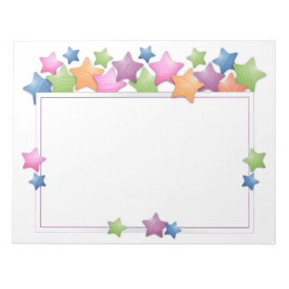 Pretty Colorful Stars Frame Notepad