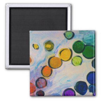 Pretty colors oil painting circles dreamy magnet