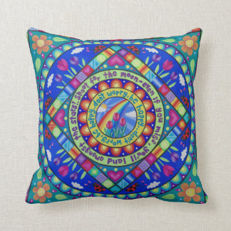 "Pretty, colourful ""Be Happy"" cushion by Soozie"