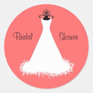 Pretty Coral Bridal Shower Envelope Seal Round Sticker