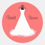 Pretty Coral Bridal Shower Envelope Seal Round Stickers