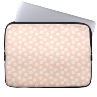 Pretty Coral Pink Color Floral Pattern. Laptop Sleeve