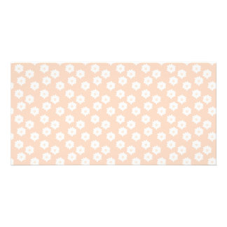 Pretty Coral Pink Color Floral Pattern Photo Card Template