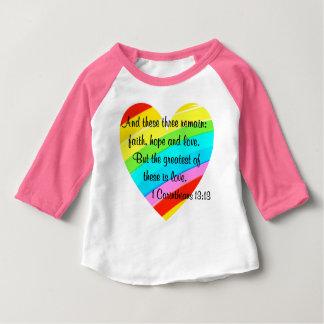 PRETTY CORINTHIANS 13:13 RAINBOW HEART DESIGN BABY T-Shirt