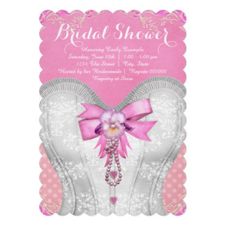 Pretty Corset Pink Bridal Shower Card