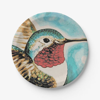 Pretty Costa's Hummingbird Paper Plate