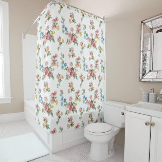 Pretty Cottage Chic Shabby Floral Shower Curtain