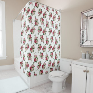 Pretty Cottage Chintz Roses Shower Curtain