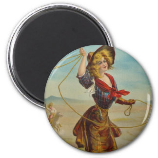 Pretty Cowboy Cowgirl Western Vintage Pin Up Girl 6 Cm Round Magnet