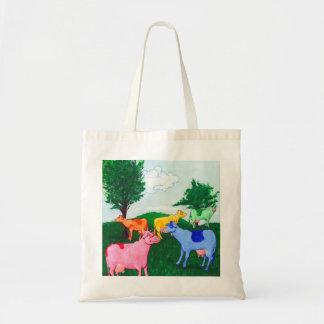 Pretty cows tote bags