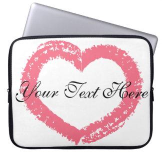 Pretty Crayon Heart - Peach Laptop Sleeve