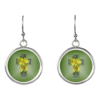 Pretty Cross with Yellow Daisies Earrings