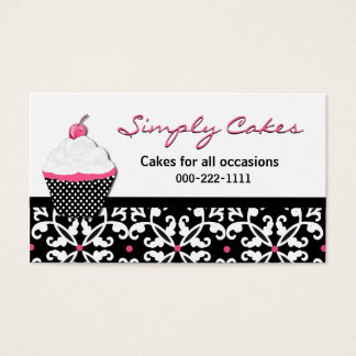 Pretty Cupcake and Damask Bakery Business Card