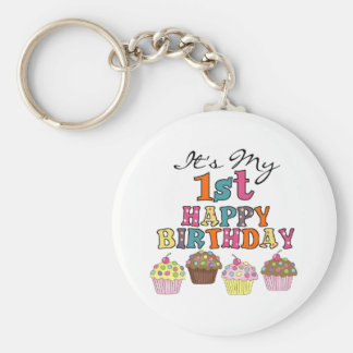 Pretty Cupcakes 1st Birthday Tshirts and Gifts Basic Round Button Key Ring