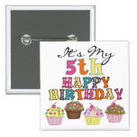 Pretty Cupcakes 5th Birthday Tshirts and Gifts Buttons