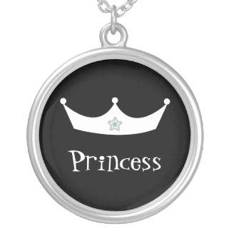 Pretty Customizable Black & White Princess Crown Custom Necklace