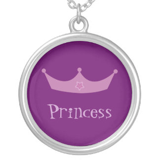Pretty Customizable Purple & Lilac Princess Crown Round Pendant Necklace
