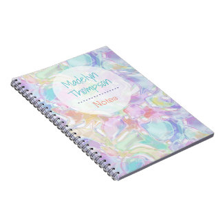 Pretty Cute Colorful Futuristic Swirls Pattern Notebook