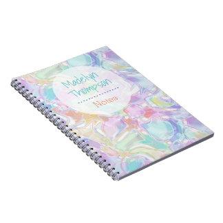 Pretty Cute Colorful Futuristic Swirls Pattern Spiral Notebook