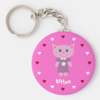 Pretty & Cute Kitten & Hearts Customizable Pink Key Ring