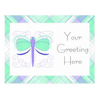 Pretty Cyan And Blue Dragonfly Postcard
