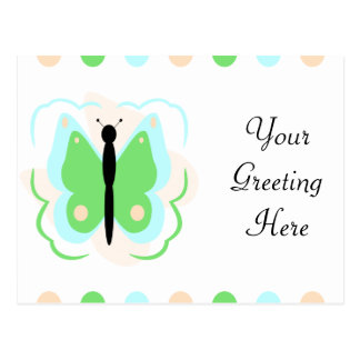 Pretty Cyan And Green Butterfly Postcard