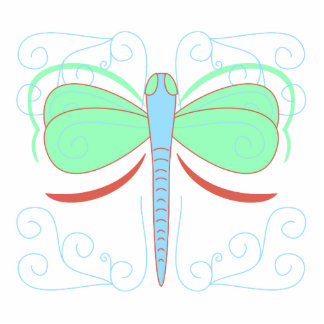 Pretty Cyan And Pink Dragonfly Ornament Photo Cutout