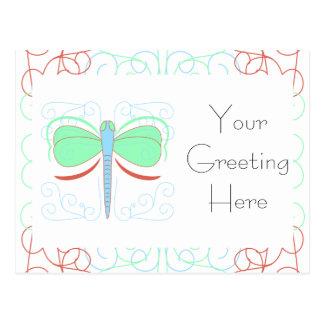 Pretty Cyan And Pink Dragonfly Postcard