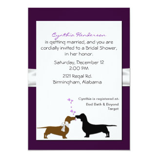 Pretty Dachshunds Bridal Shower Invitation