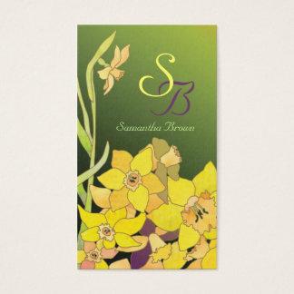 Pretty Daffodils Monogram Business Cards