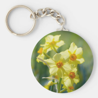Pretty Daffodils, Narcissus 03.2_rd Key Ring