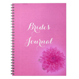 Pretty dahlia bright pink wedding journal spiral note books
