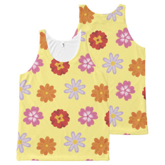 Pretty Daisies Floral Yellow Flower Pattern All-Over Print Singlet