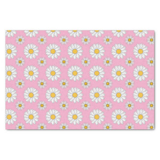 Pretty Daisies on Pink Background Tissue Paper