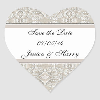 Pretty Damask Lace Design Heart Sticker