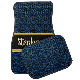 Pretty Damask Lace Pattern Black and Blue #1 Car Mat