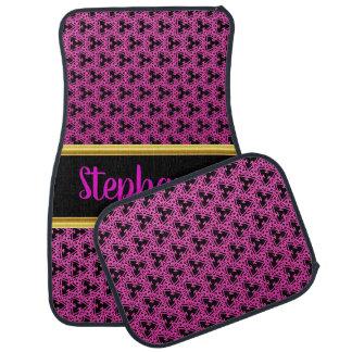 Pretty Damask Lace Pattern Pink and Black #1 Car Mat